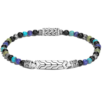 John Hardy Mens Blue Multi-Stone Bead Bracelet with Silver Station