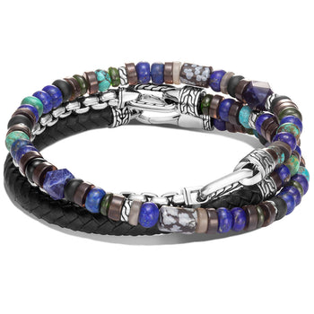 John Hardy Mens Triple Wrap Bracelet with Leather Silver Multi-Stone Blue Beads