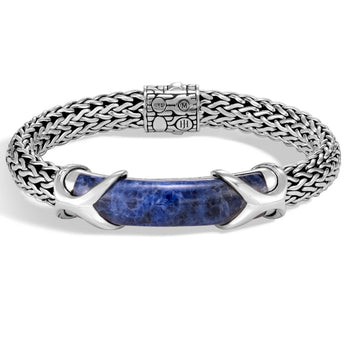 John Hardy Mens Blue Sodalite Large Silver Asli Link 10.5mm Bracelet - Classic Chain Collection
