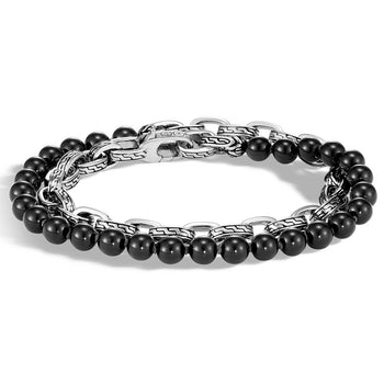 John Hardy Mens Black Onyx Bead and Silver Classic Chain Double Wrap Bracelet