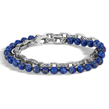 John Hardy Mens Blue Lapis Lazuli Bead and Silver Classic Chain Double Wrap Bracelet