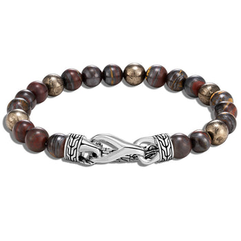 John Hardy Mens Red Tiger Iron and Pyrite Bead Bracelet with Silver Asli Classic Chain Clasp
