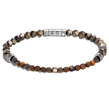 John Hardy Mens 4mm Thin Bead Bracelet with Pyrite, Tiger Iron, Smoky Quartz, Silver Calcite