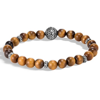 John Hardy Mens Tiger Eye 8mm Bead Bracelet with Silver Classic Chain Design Station