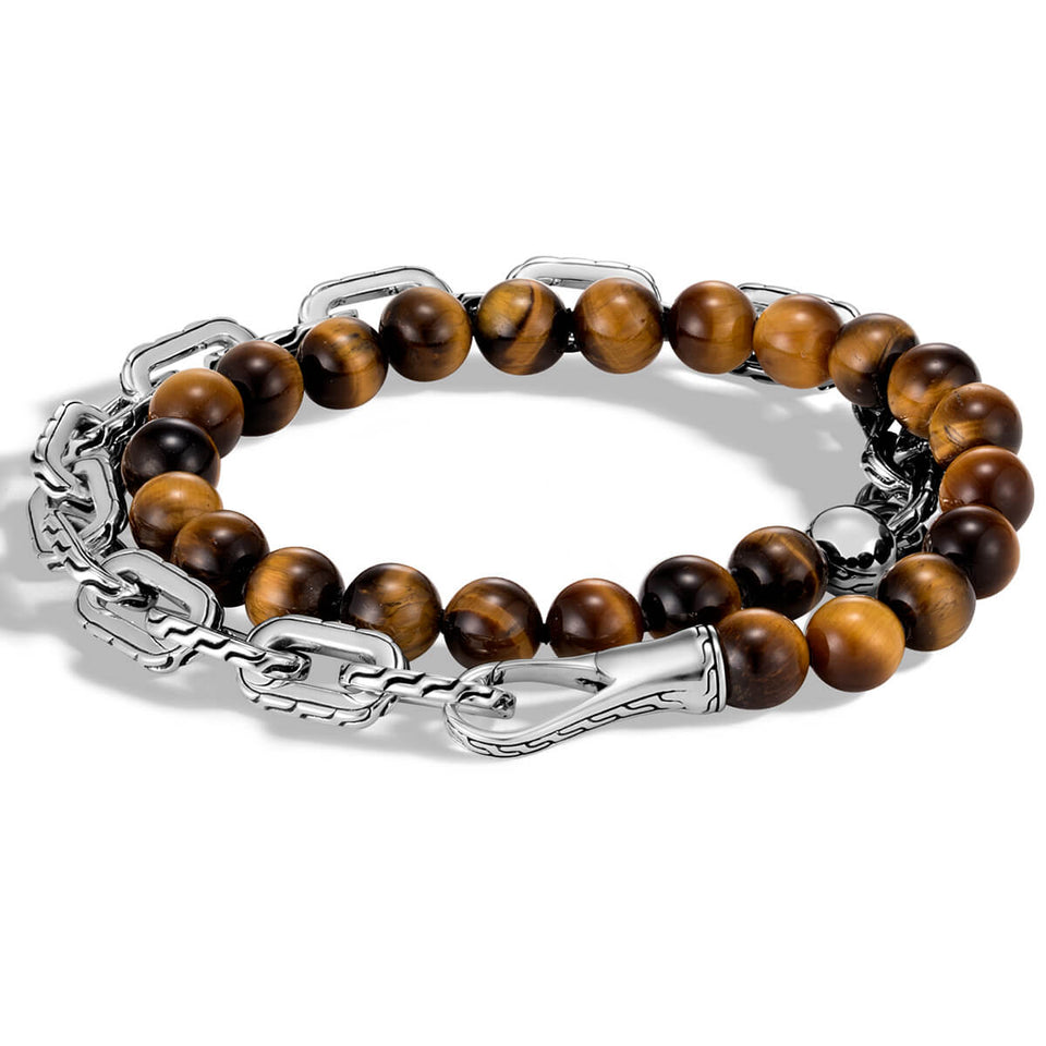 John Hardy Mens Double Wrap Tiger Eye Bead and Silver Classic Chain Bracelet