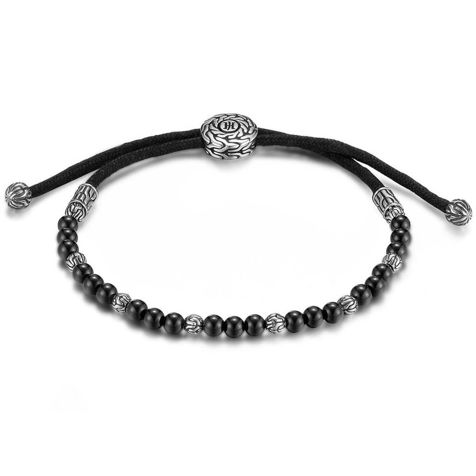 John Hardy Mens Black Onyx Bead 3mm Thin Width Bracelet with Pull Through Adjustable Cord