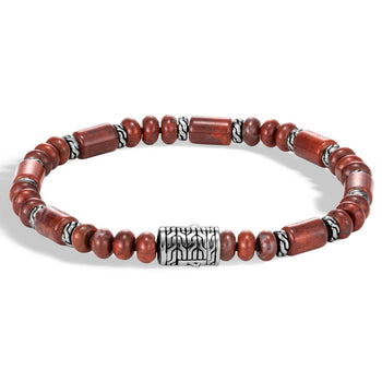 John Hardy Mens Brecciated Red Jasper 6mm Bead Bracelet - Classic Chain Design Station