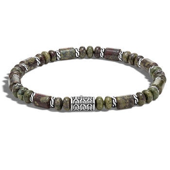 John Hardy Mens Dragon Blood Jasper Stone 6mm Bead Bracelet with Classic Chain Design Station