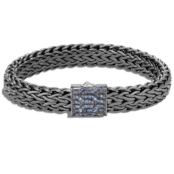 John Hardy Mens Black Rhodium Silver Bracelet with Blue Sapphires - Classic Chain Collection