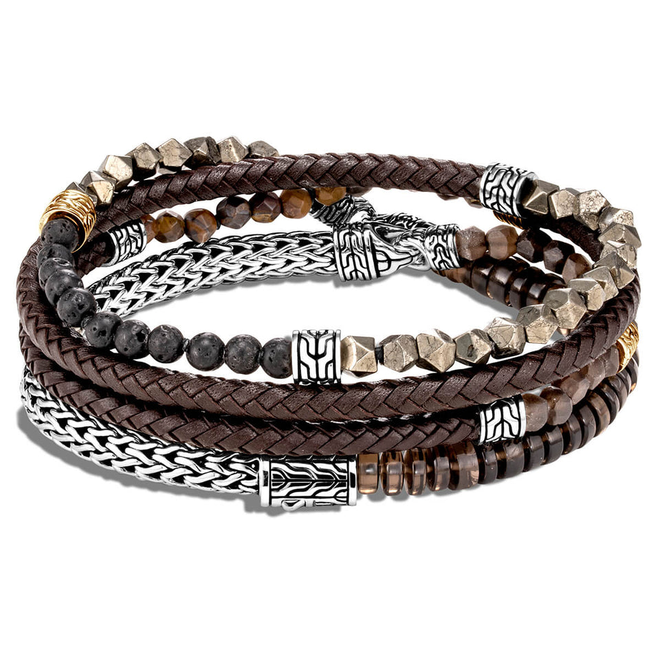 John Hardy Mens Multi-Wrap Brown Leather Sterling Silver and Bead Bracelet