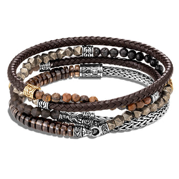 Brown Leather /& Brass Bracelet Top Quality Jewellery For Men A571