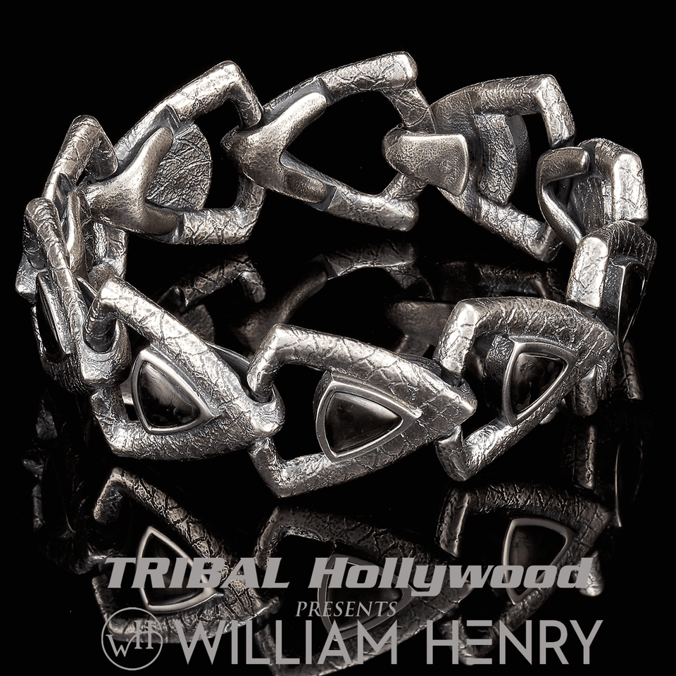 William Henry CARBON TEMPO Spearpoint Link Bracelet for Men in Silver