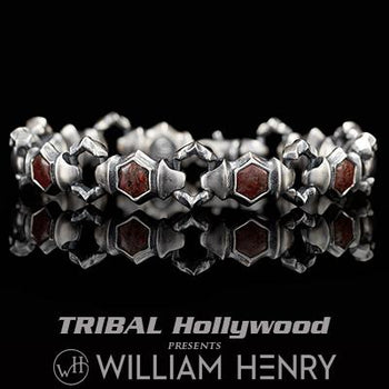 William Henry QUEST RED DINOSAUR BONE Sterling Silver Bracelet for Men