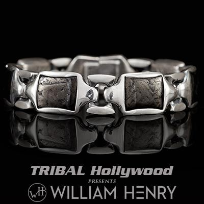 William Henry RETRO CARBON FIBER Sterling Silver Heavy Duty Link Bracelet for Men