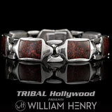 William Henry RETRO RED DINO BONE Sterling Silver Heavy Duty Link Bracelet for Men