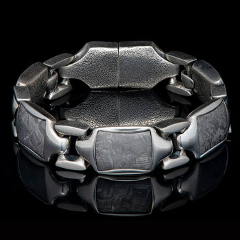 William Henry RETRO METEORITE Heavy Duty Silver Link Bracelet for Men