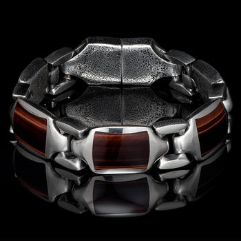 William Henry RETRO TIGERS EYE Heavy Duty Silver Link Bracelet for Men