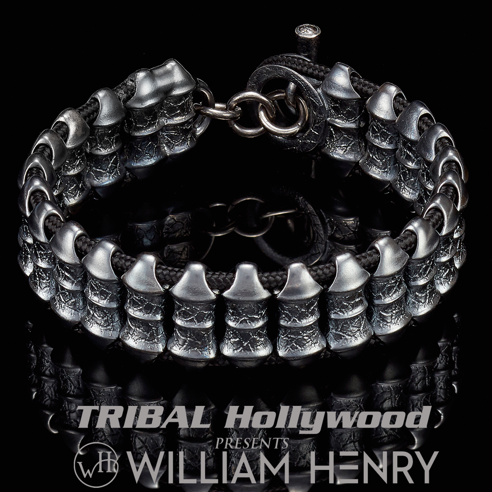 William Henry DARK VIGOR Paracord and Gunmetal Silver Mens Bracelet