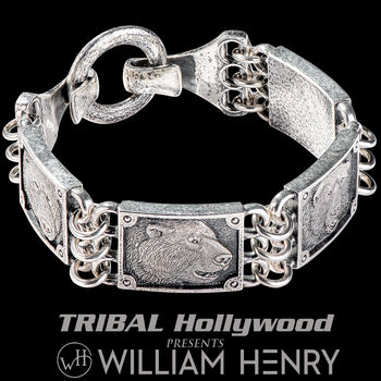 William Henry THE FOUR Polar Bear Artwork Bracelet for Men in Silver