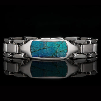William Henry IDENTITY LABRADORITE Heavy Duty Silver Mens Bracelet