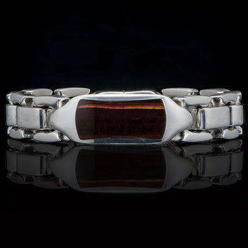 William Henry IDENTITY TIGERS EYE Heavy Duty Silver Mens Bracelet