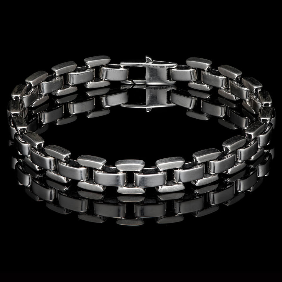 William Henry SLEEK Sterling Silver Square Link Bracelet For Men