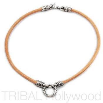 BROWN LEATHER NECKLACE with Silver Warrior Metalwork