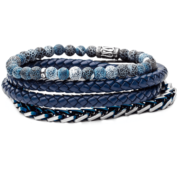 BLUE OASIS Mens Bracelet Stack with Steel Blue Leather and Agate Beads