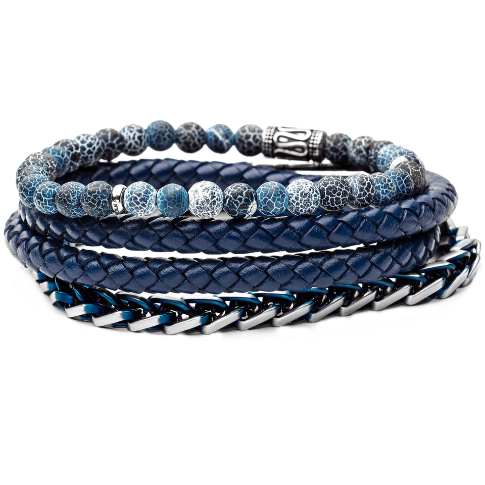 Blue Leather and Bead Mens Bracelet Stack
