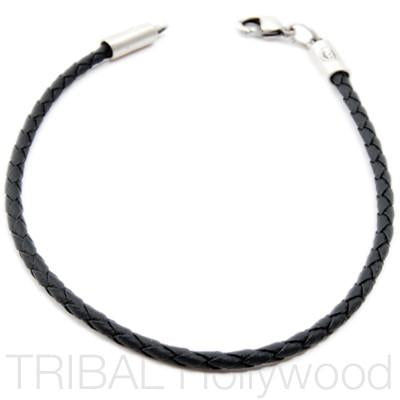 BLACK BRAIDED FAUX LEATHER BRACELET Thin Width