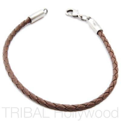 BROWN BRAIDED FAUX LEATHER BRACELET Thin Width