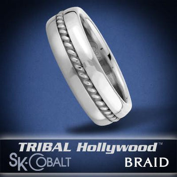 ROPE BRAID Ring SK Cobalt Men's Wedding Band by Scott Kay
