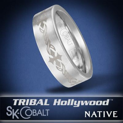 CROSS NATIVE Ring SK Cobalt Men's Wedding Band by Scott Kay