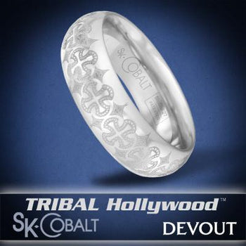 ANCIENT CROSS DEVOUT Ring SK Cobalt Men's Wedding Band by Scott Kay