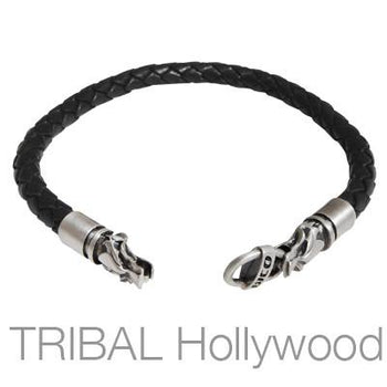 BLACK BRAIDED THICK LEATHER BRACELET with Draco Wolf Head Metalwork by Bico Australia