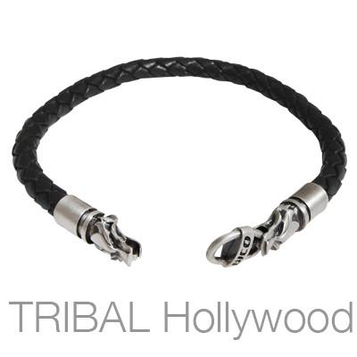 Black braided thick leather bracelet with draco wolf head metalwork draco wolf heads black braided mens leather bracelet by bico australia aloadofball Images