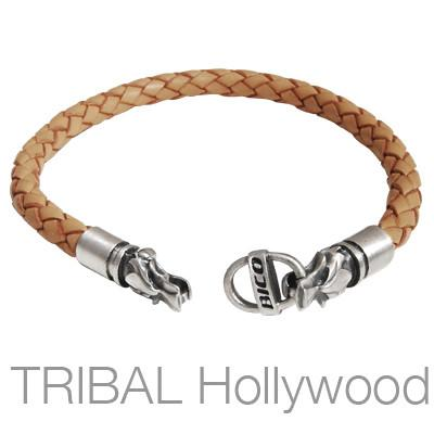 BROWN BRAIDED THICK LEATHER BRACELET with Draco Wolf Head Metalwork by Bico Australia