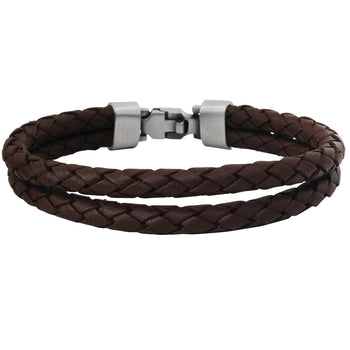 THE WRANGLER DARK BROWN Double Strand Leather Mens Bracelet by Bico