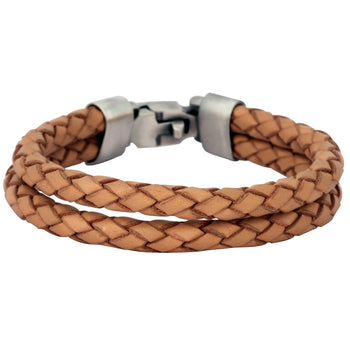 THE WRANGLER LIGHT BROWN Double Strand Leather Mens Bracelet by Bico