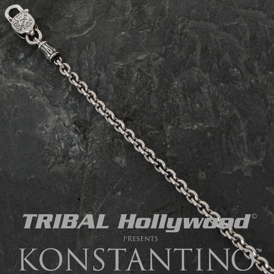 Konstantino OVAL LINK CHAIN Medium Sterling Silver Mens Necklace Chain