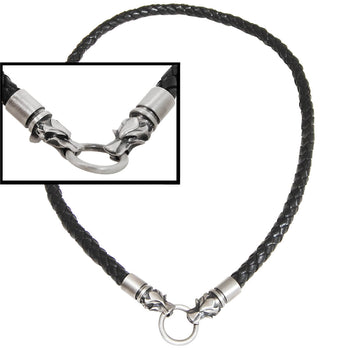 Bico BLACK BRAIDED LEATHER NECKLACE with Draco Wolf Heads for Men