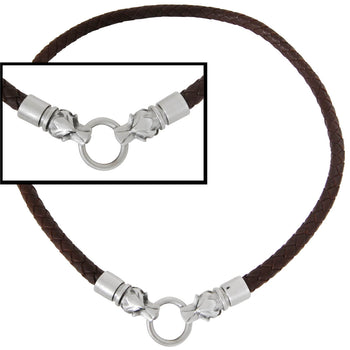 DRACO WOLF HEADS Dark Brown Braided Mens Leather Necklace by Bico Australia