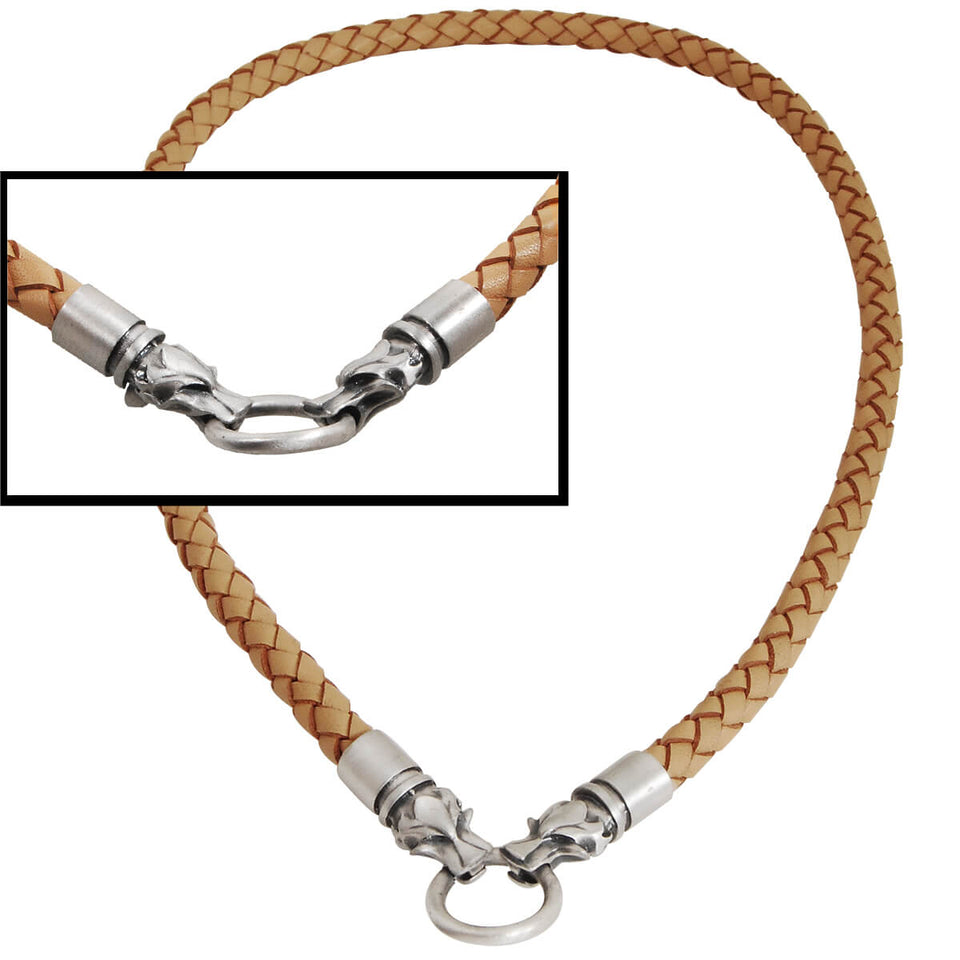 DRACO WOLF HEADS Light Brown Braided Mens Leather Necklace by Bico Australia