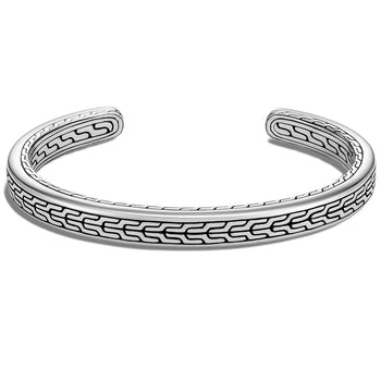 John Hardy Mens Silver Cuff Bracelet 6.5mm - Classic Chain Collection Design