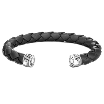 Braided Black Leather Cuff Bracelet by John Hardy