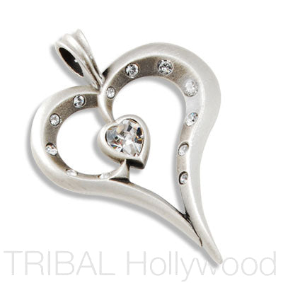 ROMY OPEN HEART PENDANT with Swarovski Crystals