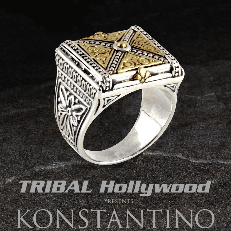 Konstantino BRONZE X RING for Men in Sterling Silver