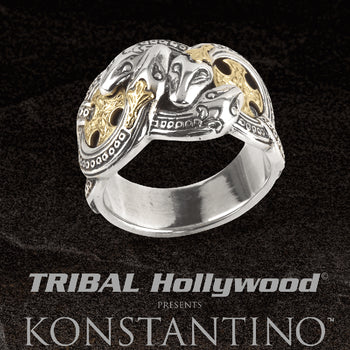 Konstantino FOUR SERPENTS RING 18k Gold and Silver Snakes Ring for Men
