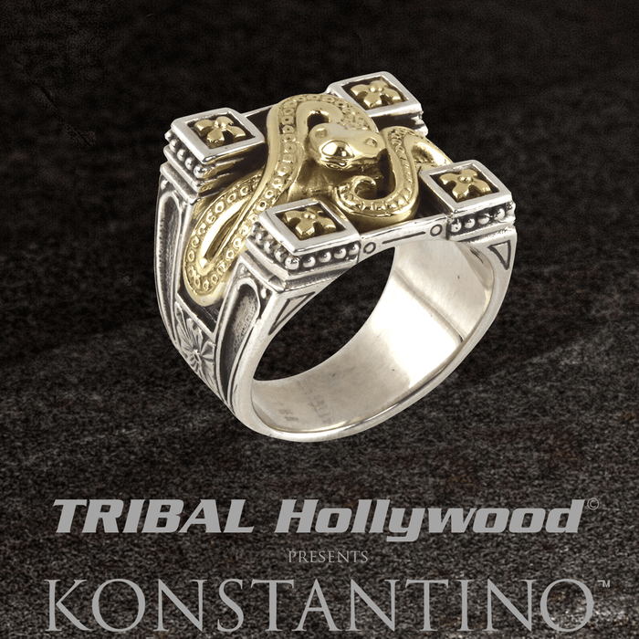 Konstantino GOLDEN SERPENT RING for Men in Silver with 18k Gold Snake