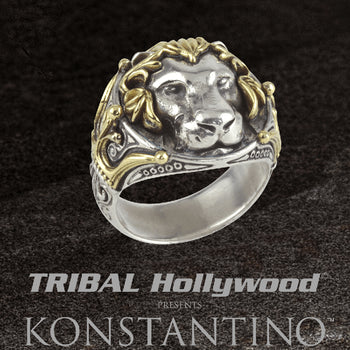Konstantino GOLD LION RING 18k Gold Maned Lion Head Ring for Men